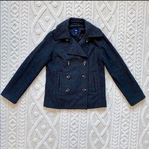 GAP Grey Wool Blend Pea Coat Jacket